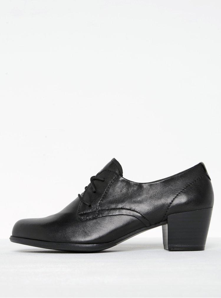 Pantofi negri din piele cu siret si toc patrat Tamaris