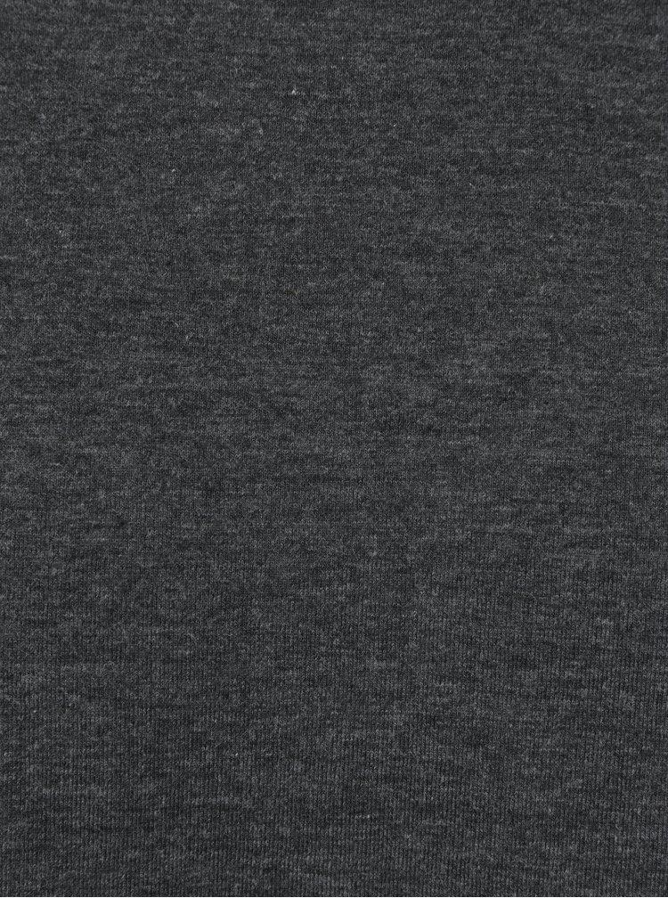 Tmavě šedé žíhané pánské tričko s dlouhým rukávem Broadway Orvadia