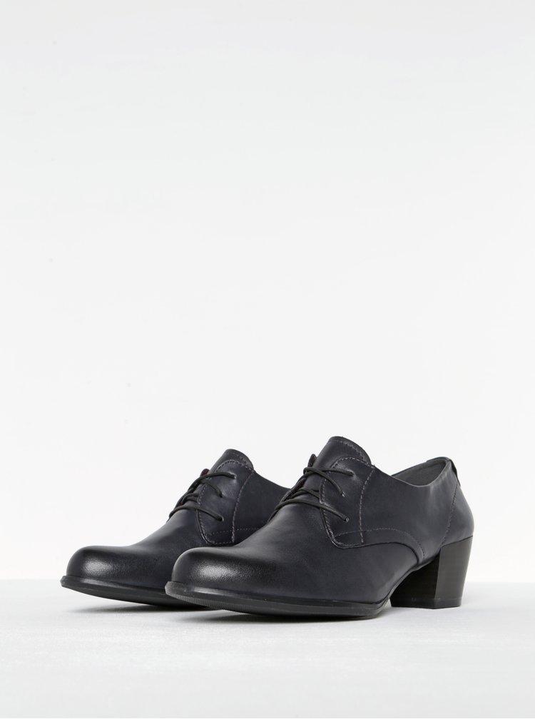 Pantofi bleumarin din piele cu toc patrat Tamaris