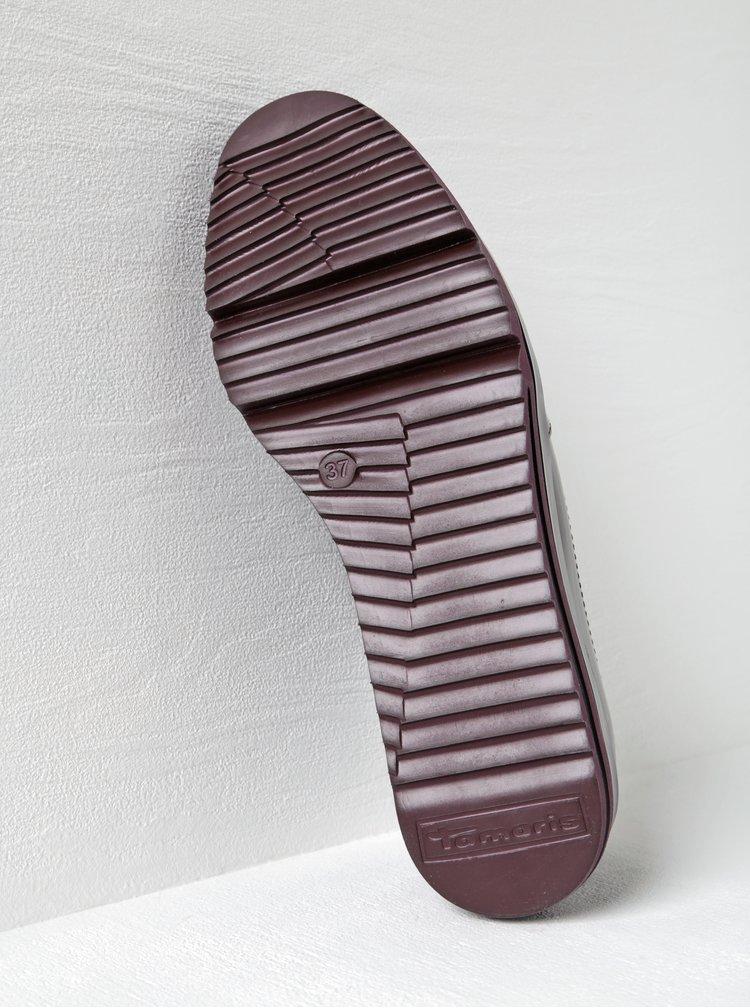 Pantofi brogue lăcuiți roșu bordo Tamaris