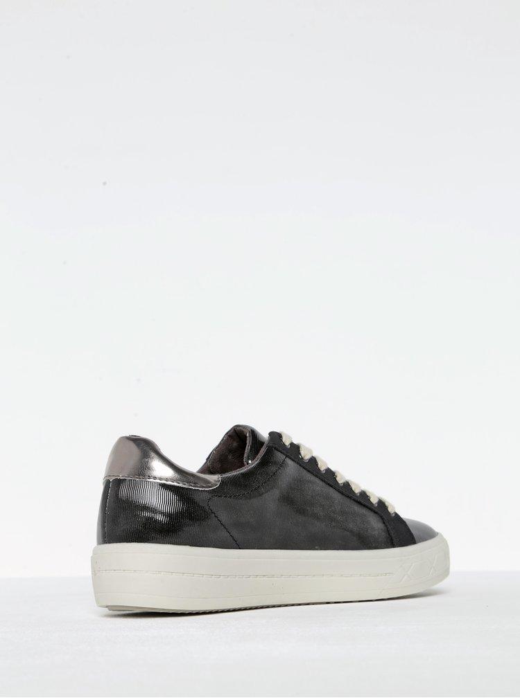 Pantofi sport negri lacuiti cu detalii argintii Tamaris
