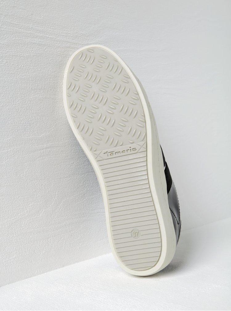 Tmavě šedé tenisky na platformě s lesklými detaily Tamaris