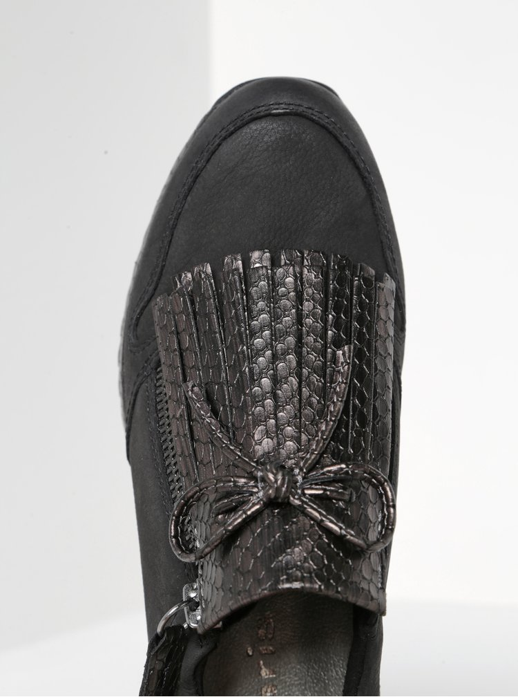 Šedo-černé kožené tenisky na platformě s třásněmi Tamaris
