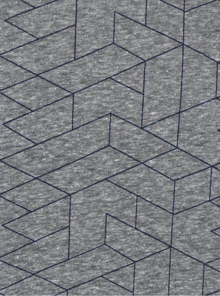 Tricou gri&albastru cu print geometric Broadway Nello