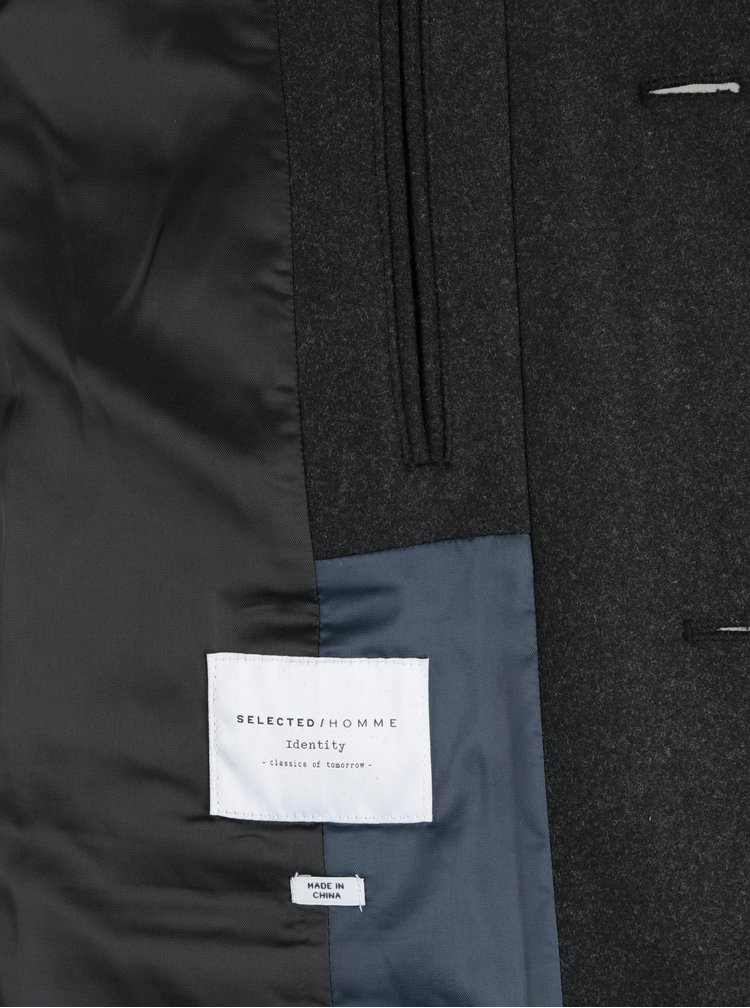 Palton gri inchis din amestec de lana Selected Homme Mosto