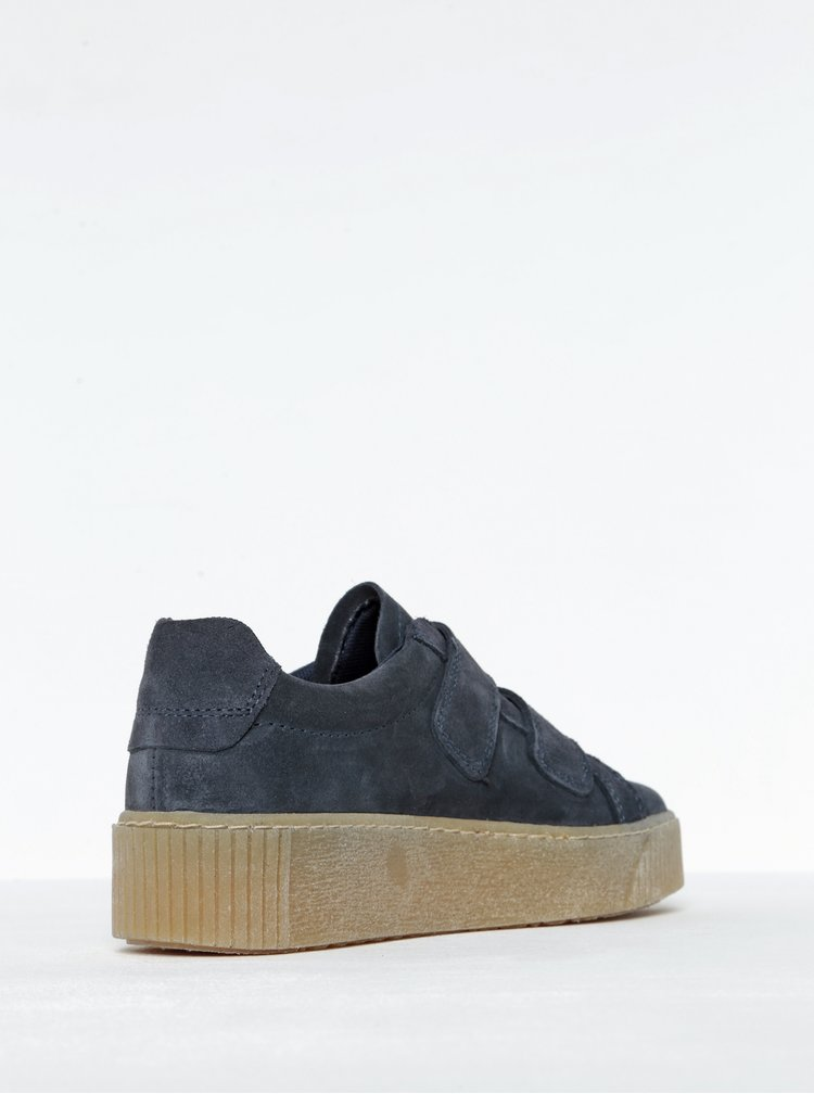Pantofi sport bleumarin din piele intoarsa Tamaris