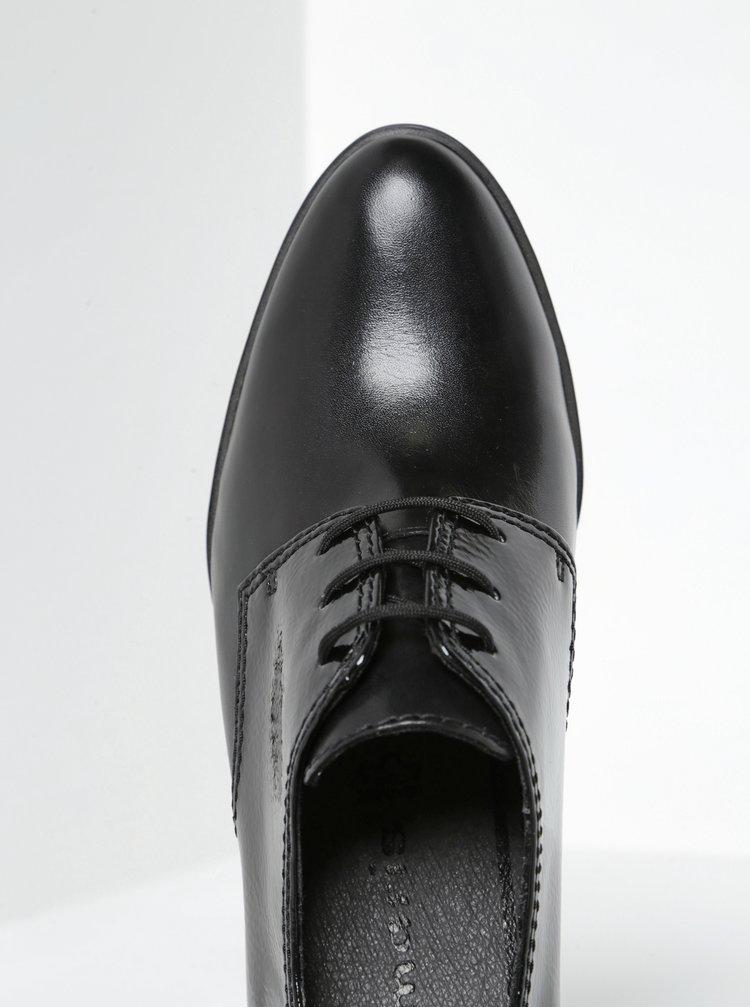 Pantofi negri din piele cu detalii lacuite Tamaris