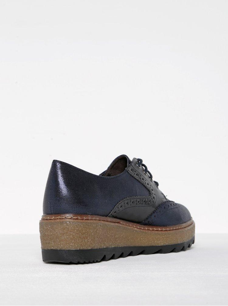 Pantofi brogue bleumarin cu negru cu platforma Tamaris