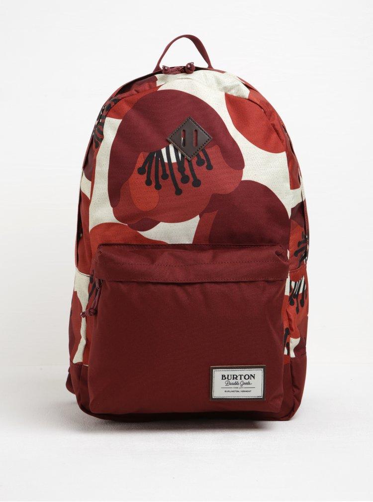 Krémovo-vínový dámský květovaný batoh Burton Kettle 20 l