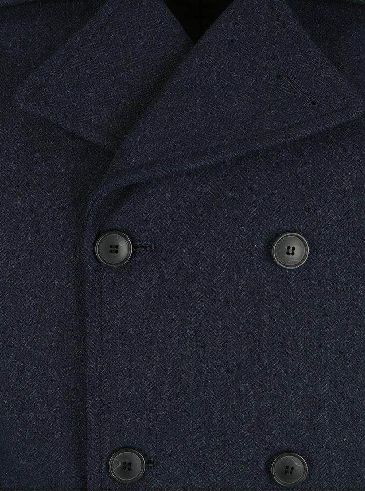 Pardesiu bleumarin melanj din amestec de lana - Selected Homme Merce