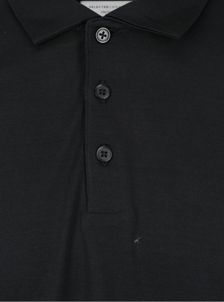 Bluza polo neagra Selected Homme Blake