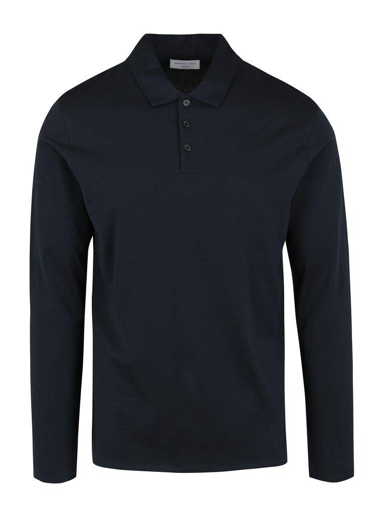Tmavě modré polo tričko s dlouhým rukávem Selected Homme Blake