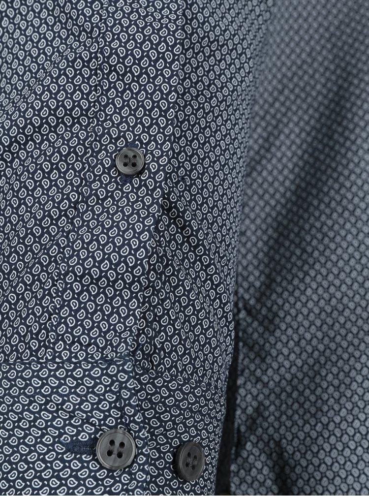 Tmavě modrá vzorovaná slim fit košile Selected Homme Xoneterra