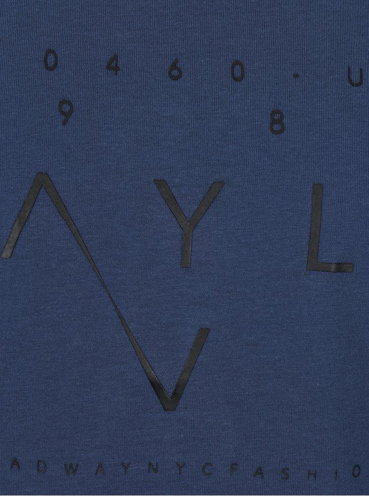 Tricou albastru închis cu print text Broadway Bennie