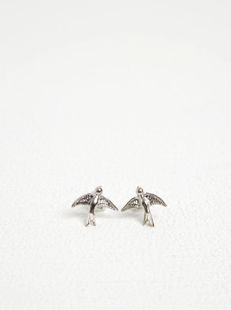 Náušnice ve stříbrné barvě s motivem ptáčků Pieces Ria