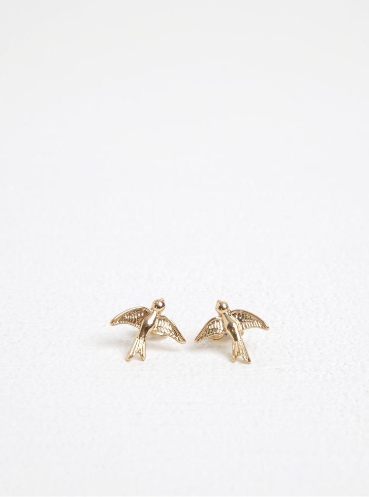 Náušnice ve zlaté barvě s motivem ptáků Pieces Ria