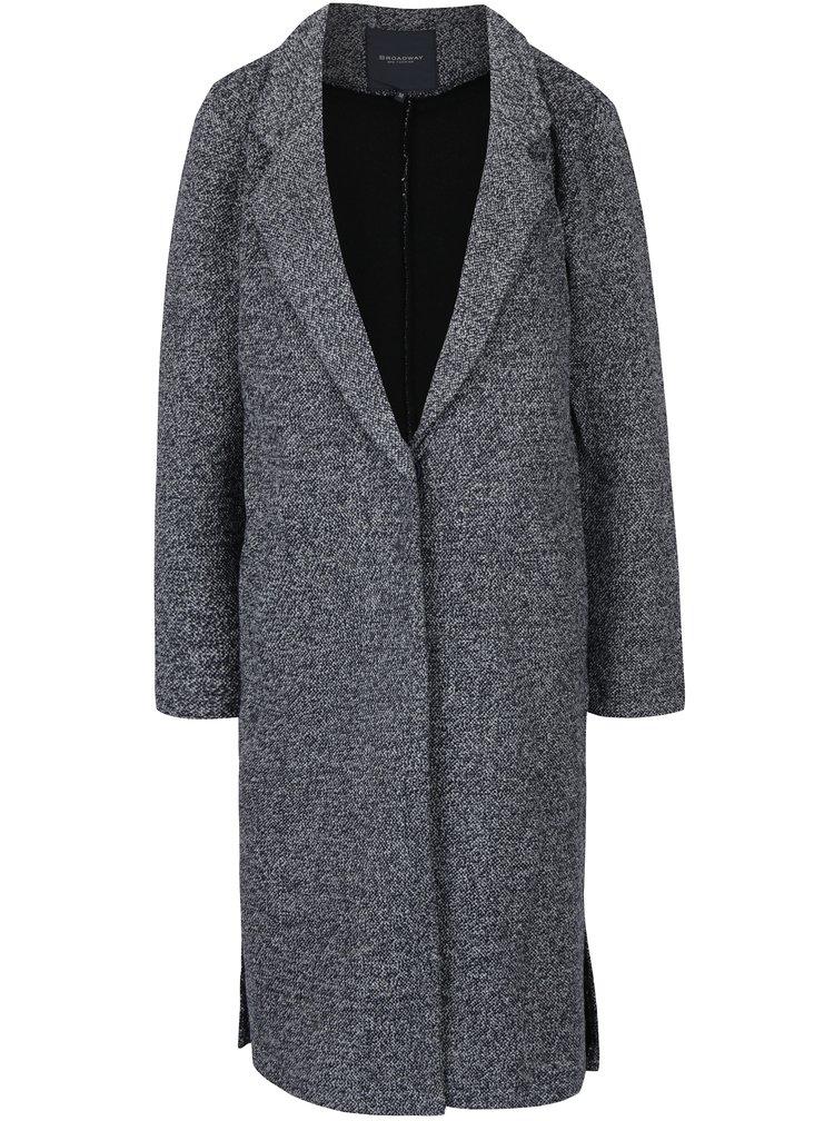 Tmavě modrý dámský žíhaný kabát Broadway Lalita