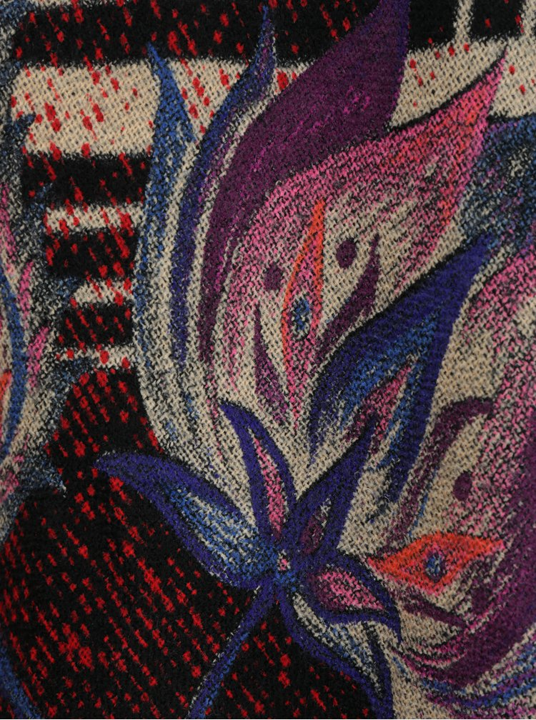 Poncho rosu & negru cu carouri, flori si franjuri - Desigual Madras Indie Flores