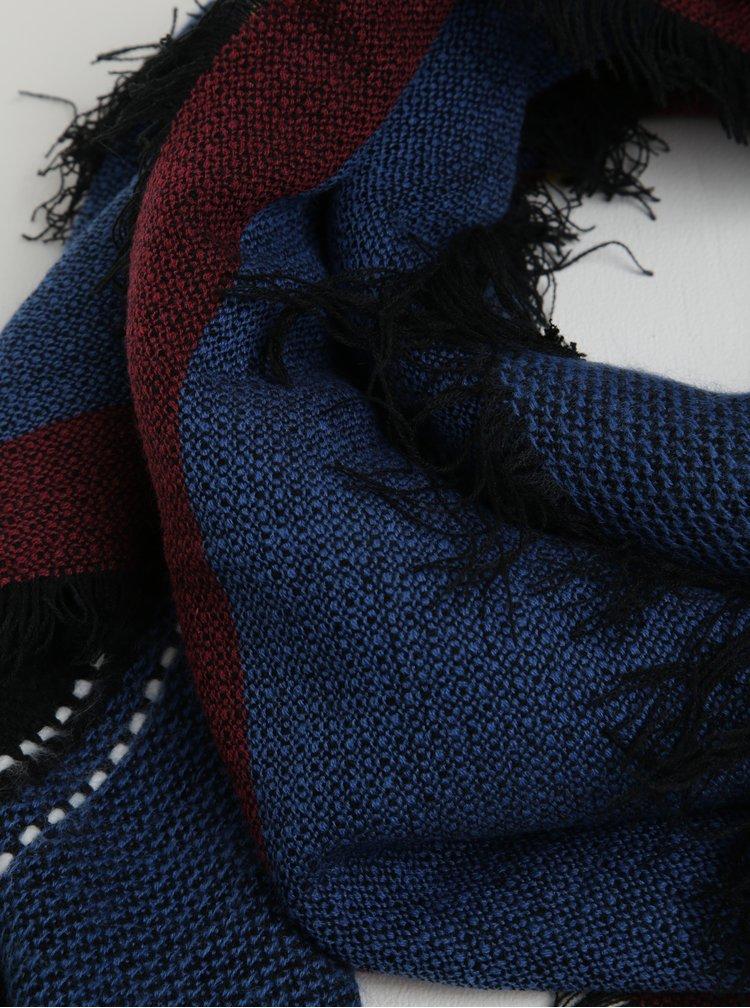 Tmavě modrý pruhovaný šátek s třásněmi Desigual Squared Calgary