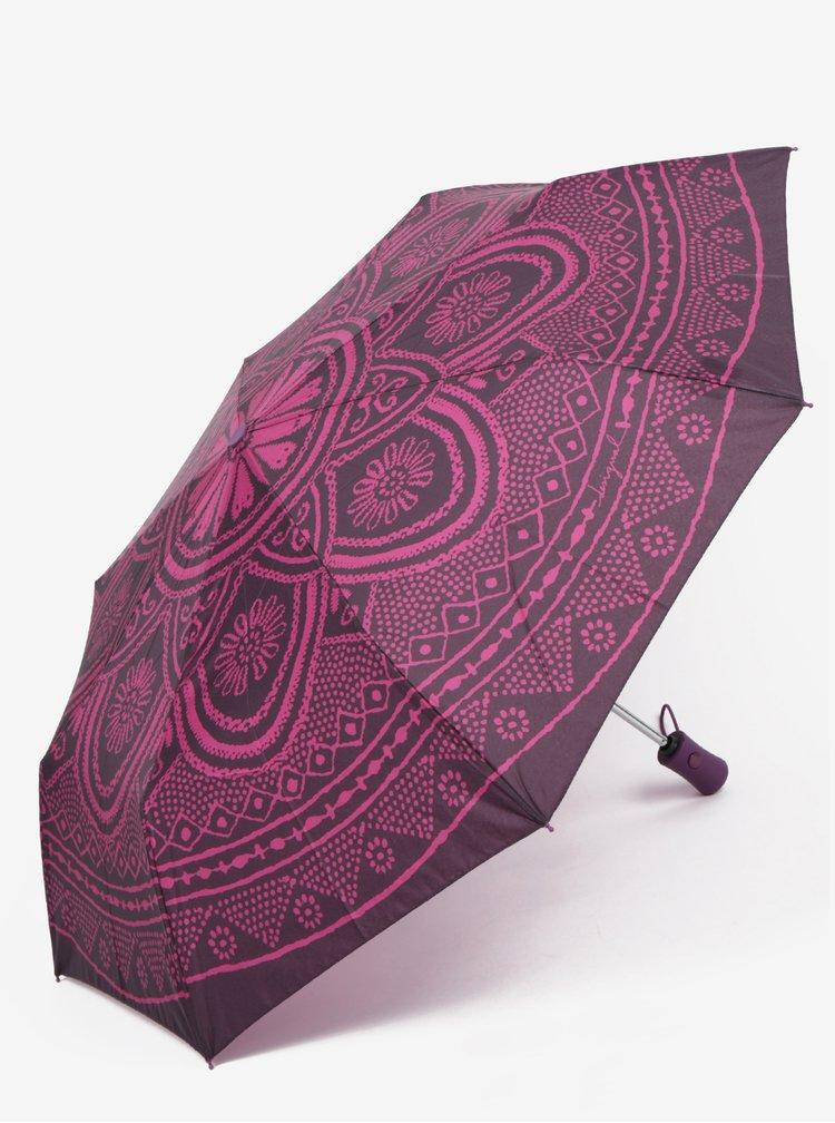 Fialový vzorovaný skládací vystřelovací deštník Desigual Mandala