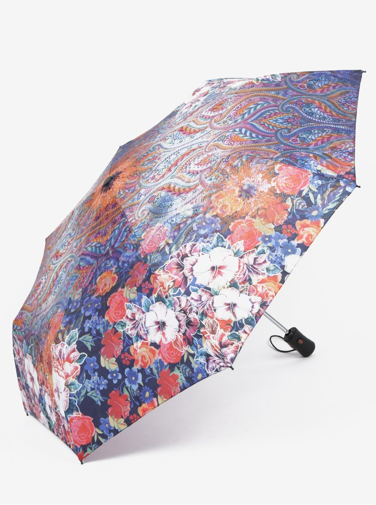 Umbrela telescopica cu print floral multicolor - Desigual Freya