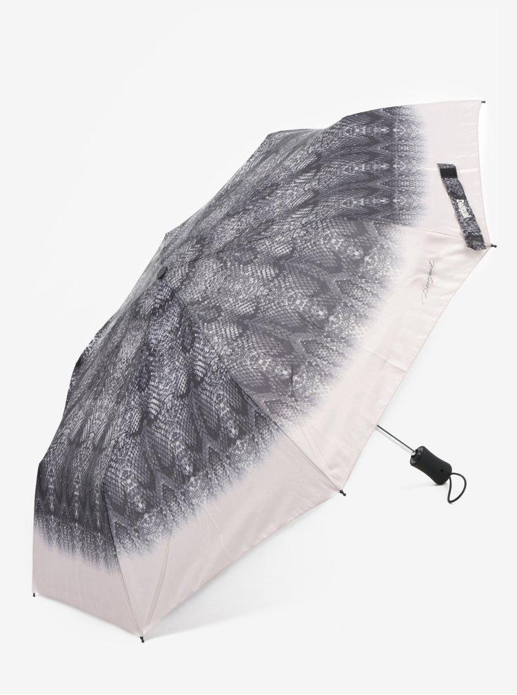 Umbrela gri telescopica tip piele de reptila - Desigual Snake