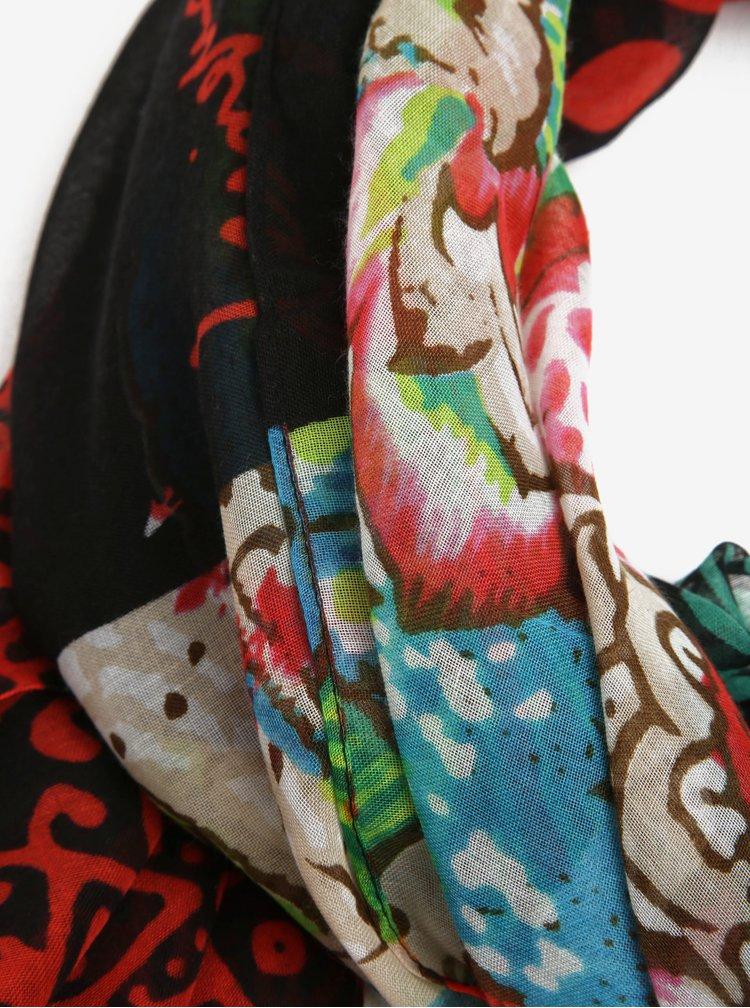 Červený květovaný šátek Desigual Donatella