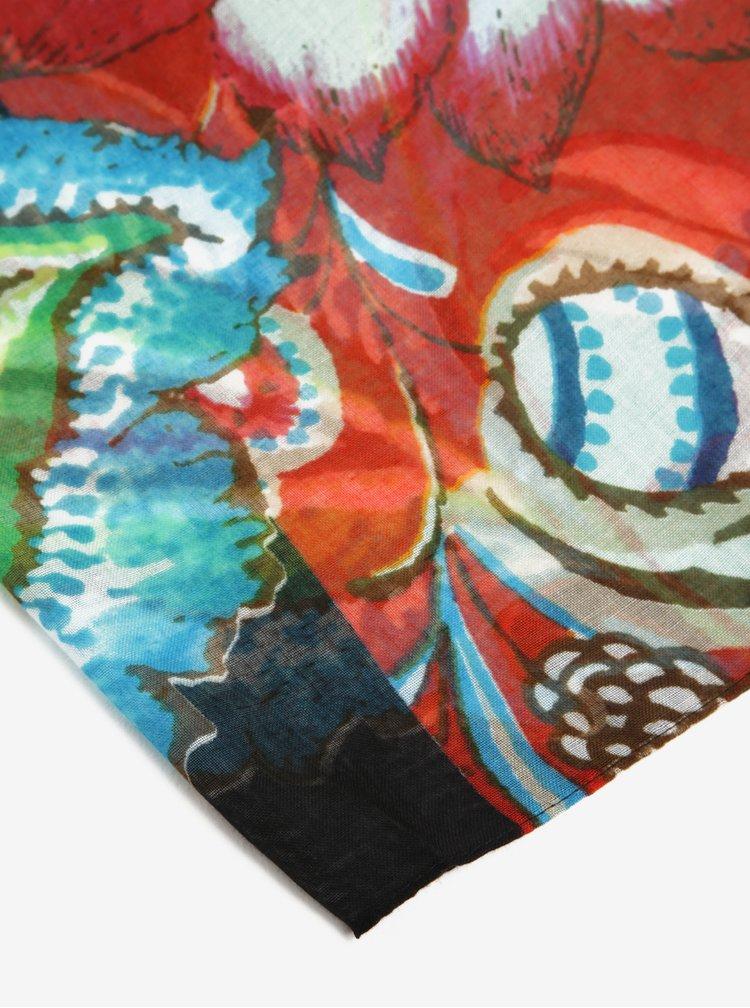 Esarfa supradimensionata cu model floral multicolor - Desigual Donatella
