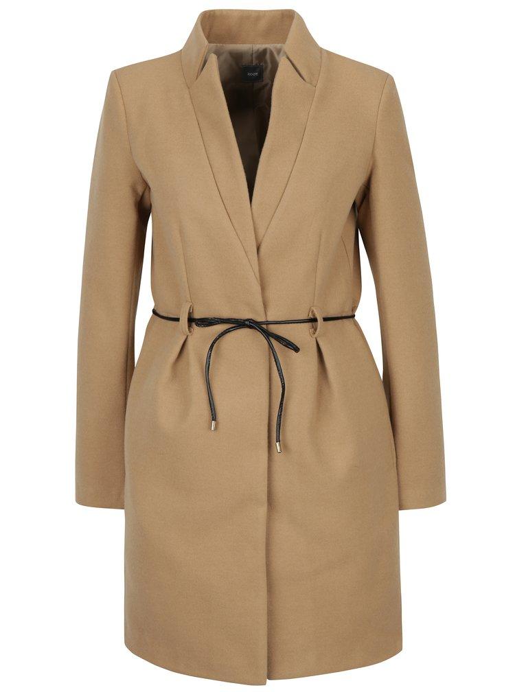 Béžový kabát s tenkým páskem  ZOOT
