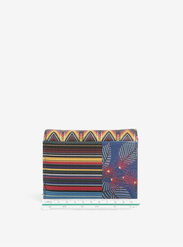Modrá peněženka s aztéckým vzorem Desigual Mix Stripes