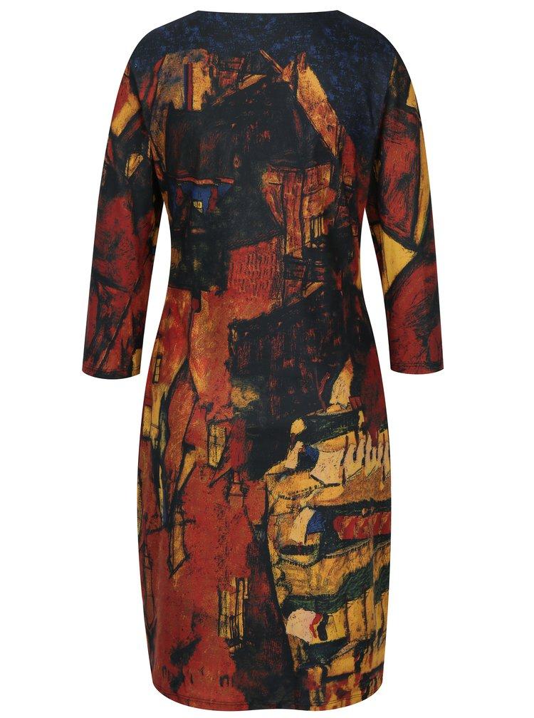 Cihlové vzorované šaty s 3/4 rukávem Smashed Lemon