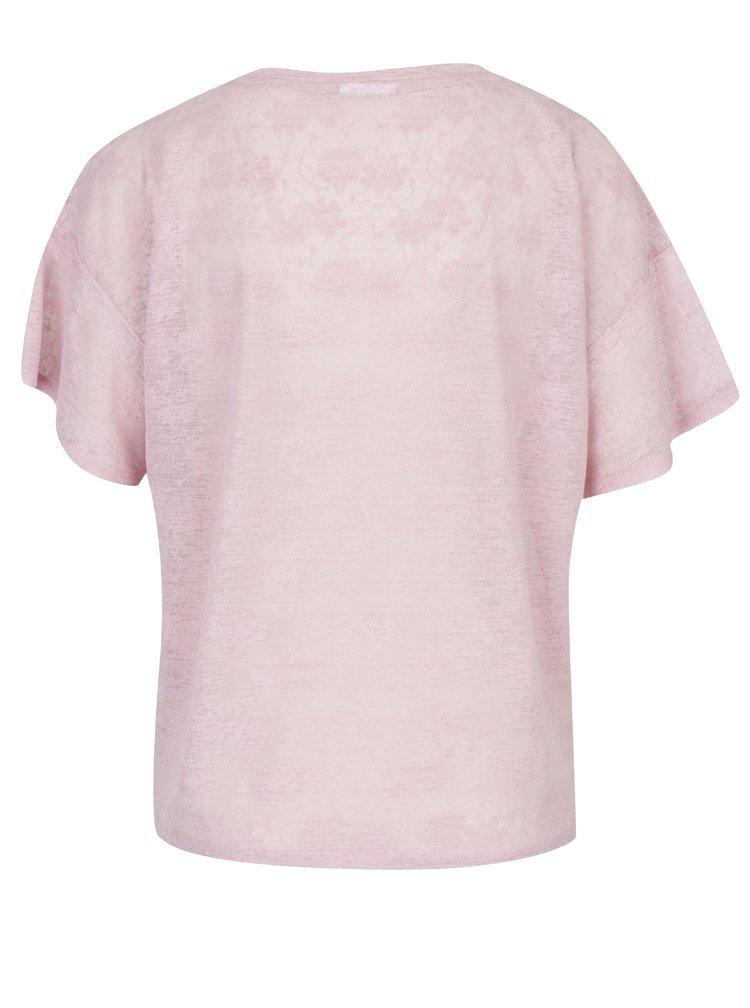 Tricou roz din material cu aspect de dantelă și print - VILA Utti
