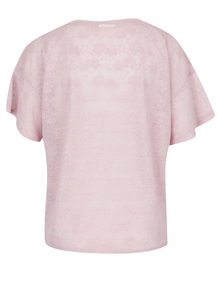 Tricou roz din material cu aspect de dantela si print - VILA Utti
