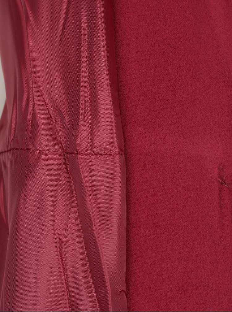 Palton rosu bordo cu snur in talie -  ZOOT