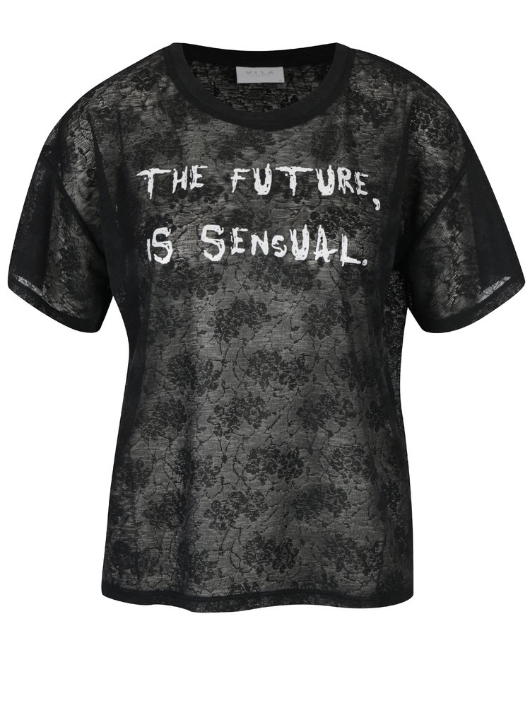 Tricou negru cu dantela si print - VILA Utti