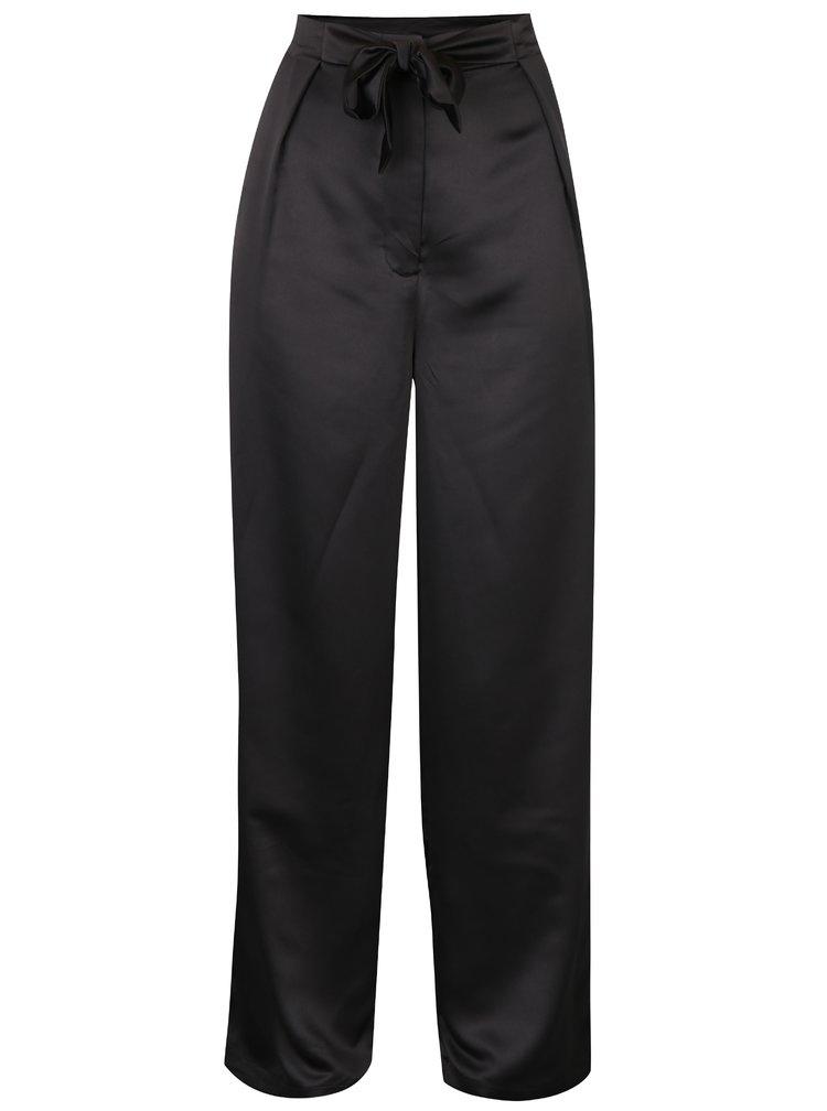 Černé volné kalhoty s vysokým pasem VILA Larissa