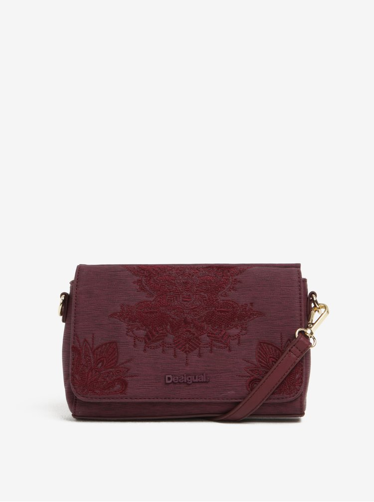 Geantă crossbody bordo cu broderie - Desigual Dallas Soft Mendhi