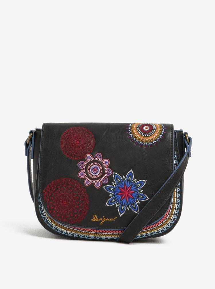 Černá crossobdy kabelka s vyšivkami Desigual Varsovia Amber
