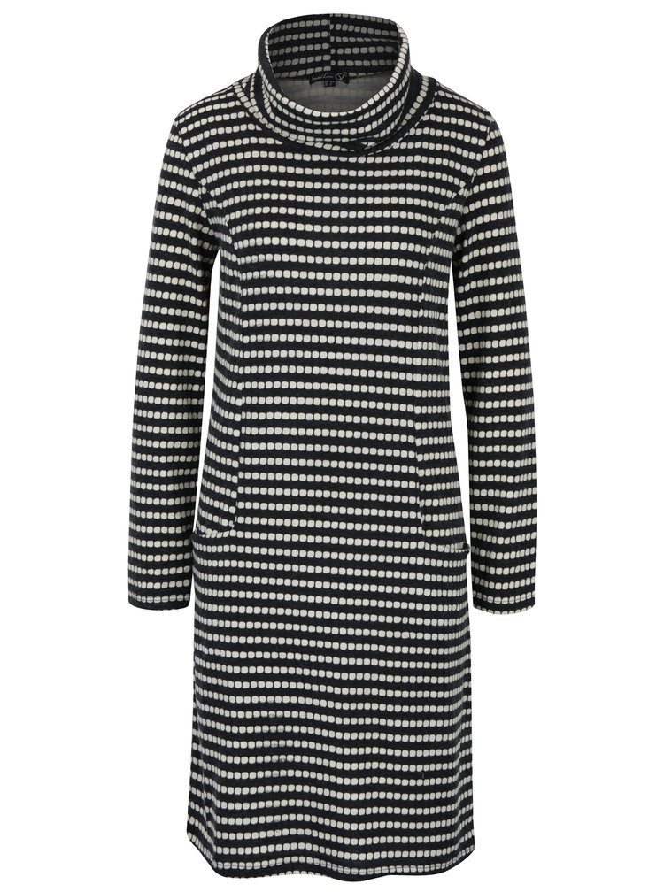 Tmavě šedé vzorované svetrové šaty s vysokým límcem Smashed Lemon