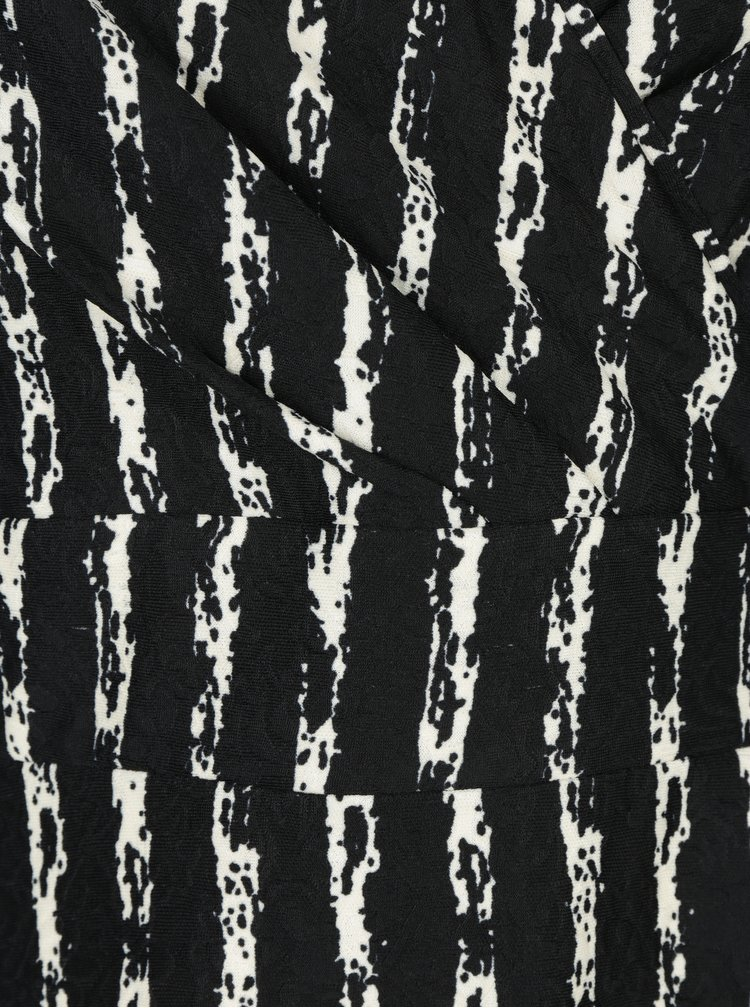 Černé vzorované šaty s překládaným dekoltem LA Lemon
