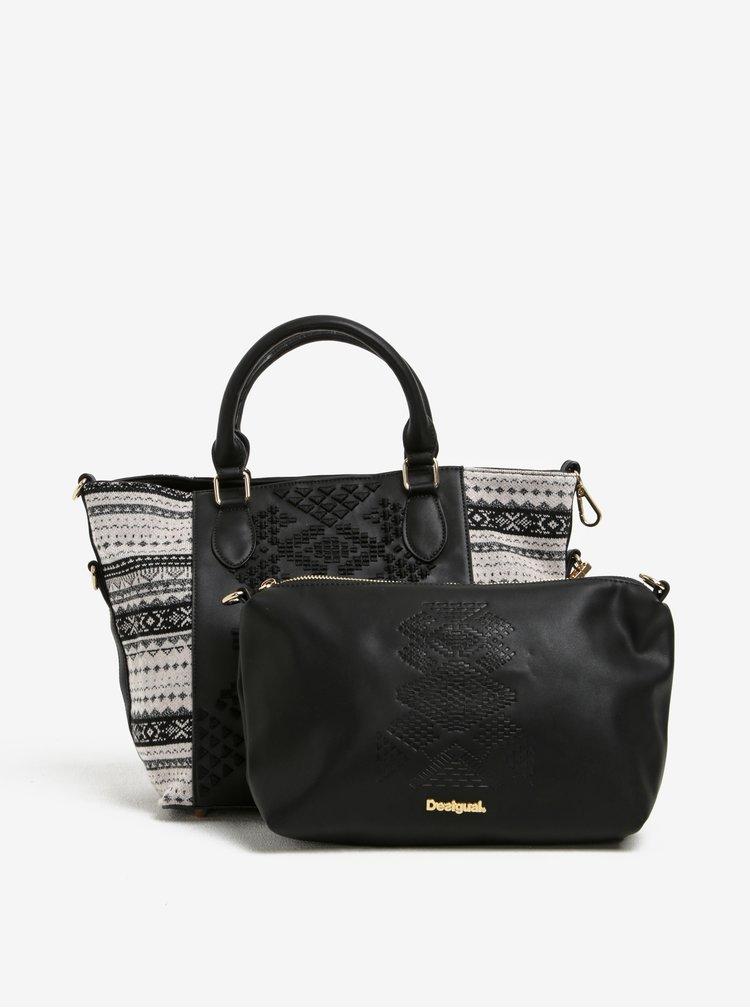 Černá vzorovaná kabelka s pouzdrem 2v1 Desigual Florida Lila