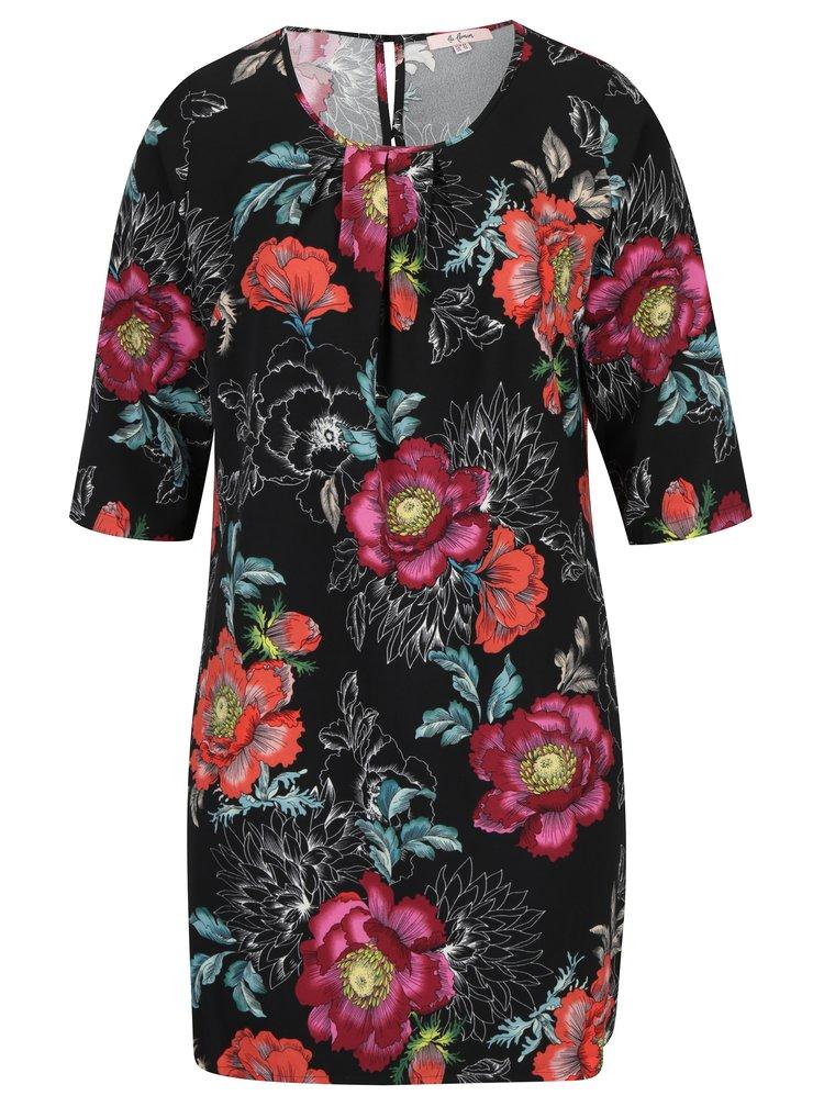 Černé květované šaty s 3/4 rukávem LA Lemon