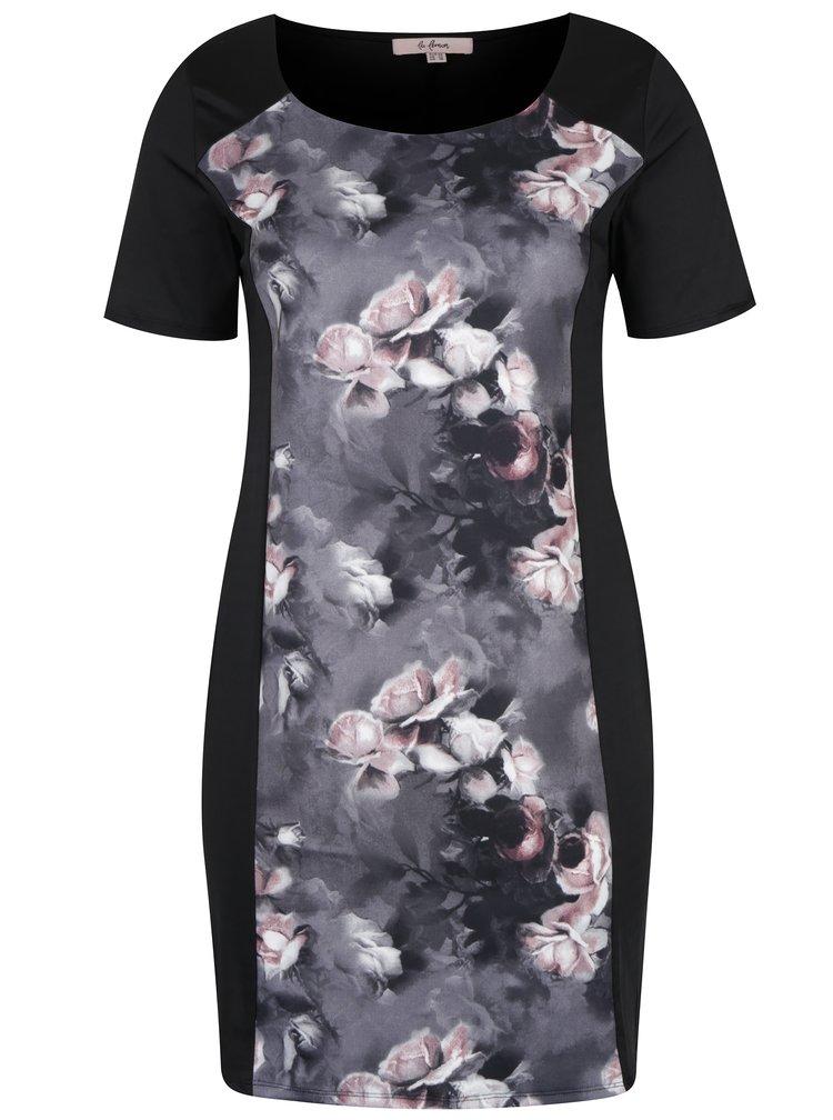 Rochie neagră cu model floral frontal LA Lemon