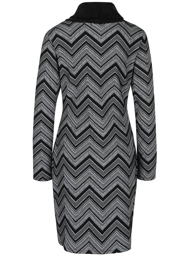 Černé vzorované šaty s vysokým límcem Smashed Lemon