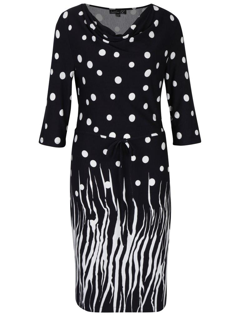 Černé puntíkované šaty s 3/4 rukávem Smashed Lemon
