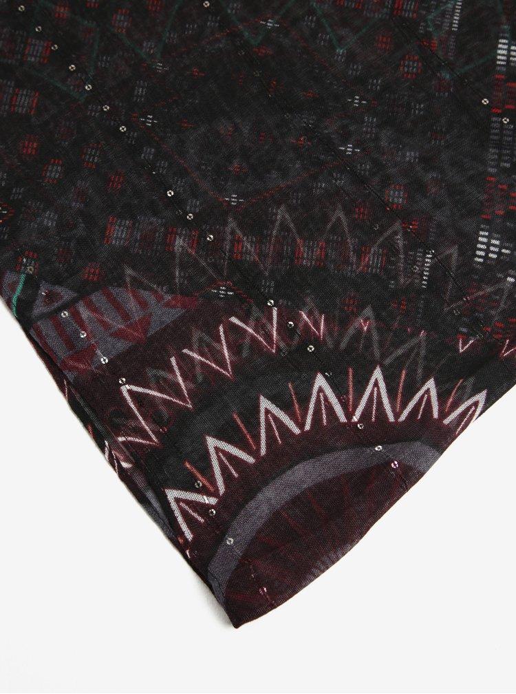 Esarfa neagra cu model mandala si paiete discrete - Desigual Rectangle Noa