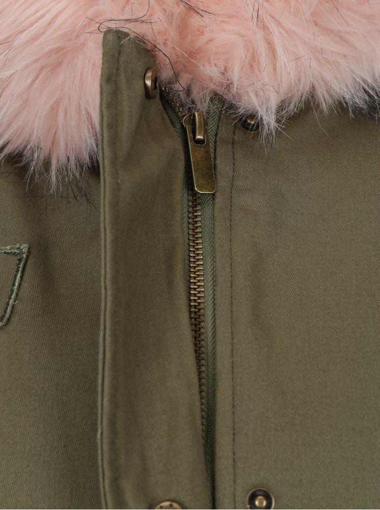 Růžovo-khaki zimní parka s umělým kožíškem Haily´s Ava