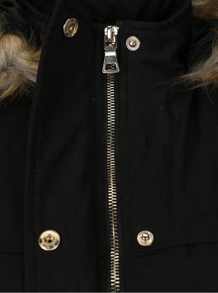 Černá parka s umělým kožíškem Haily´s Penelope