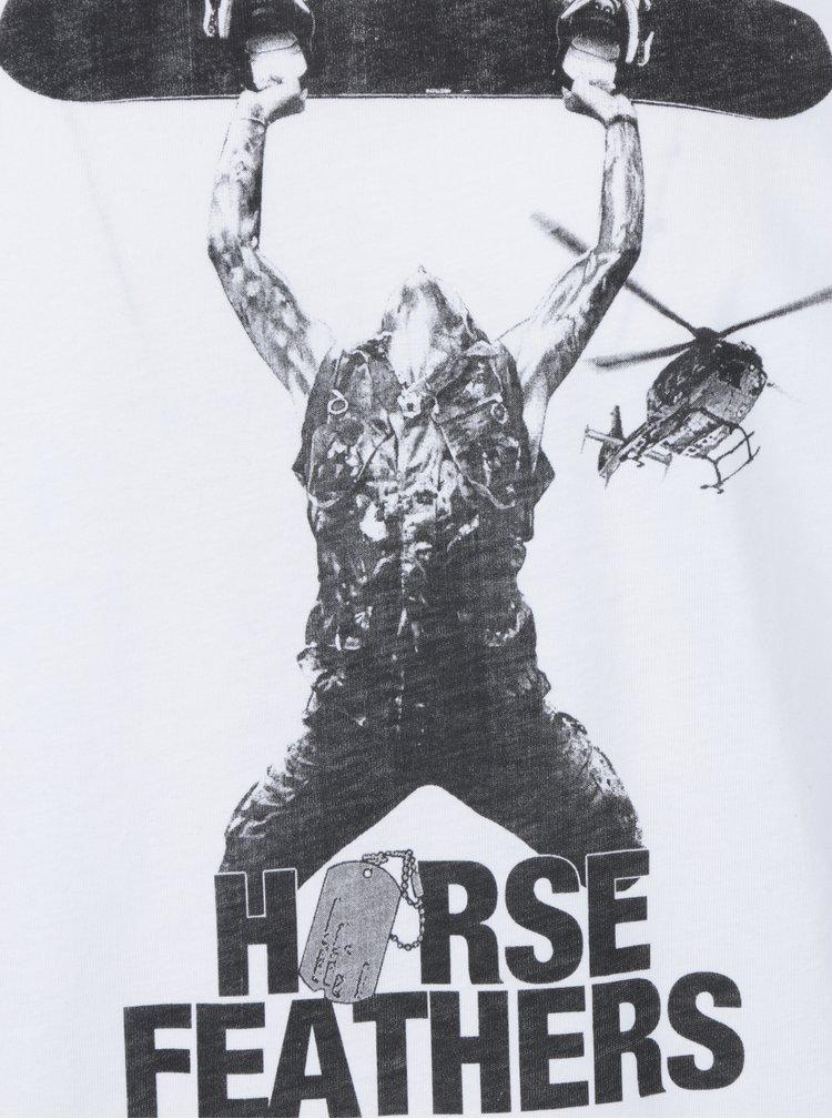 Tricou alb cu print pentru barbati  Horsefeathers Stratus