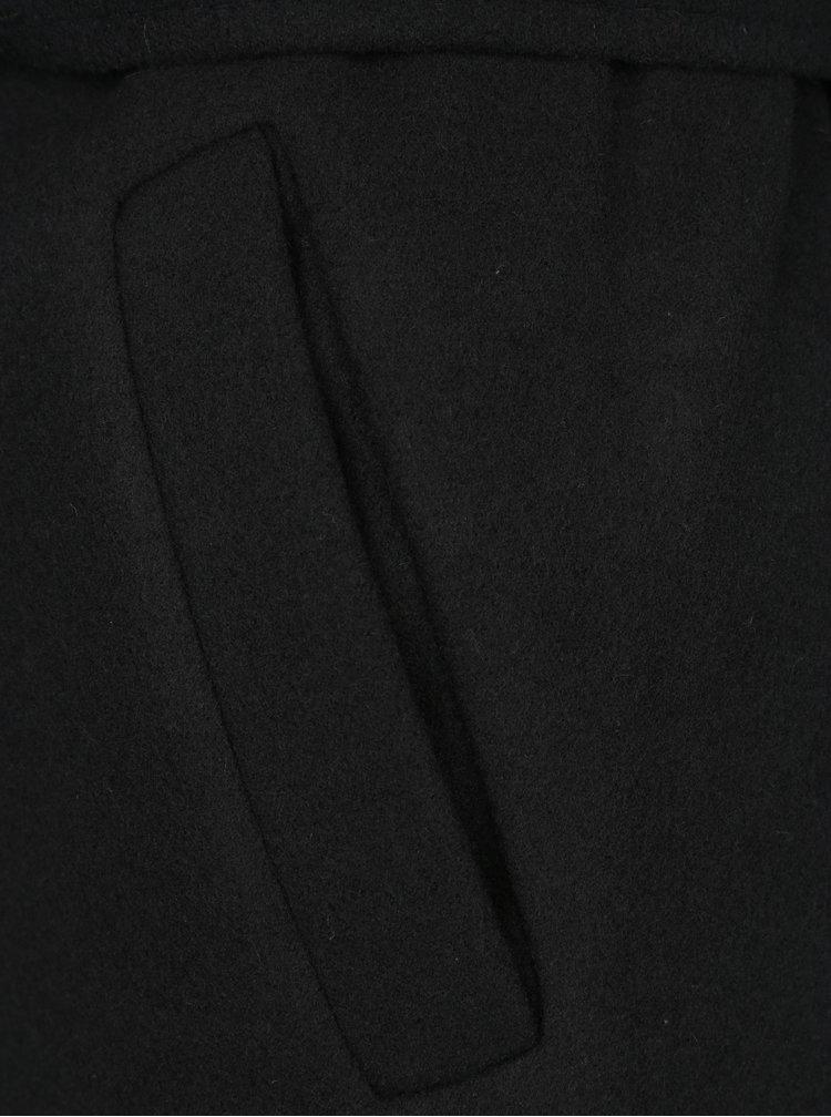 Palton negru cu revere ample - ZOOT